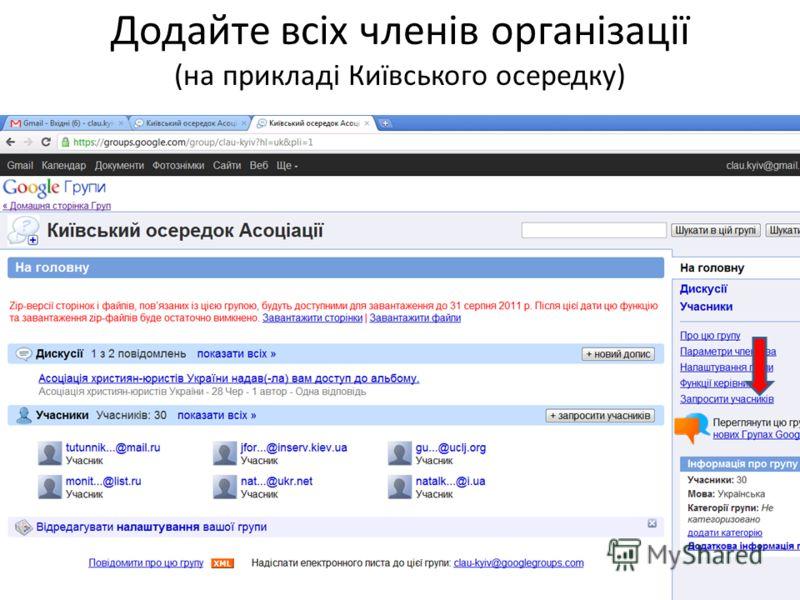 Додайте всіх членів організації (на прикладі Київського осередку)