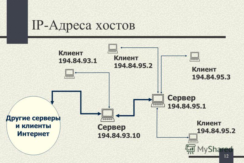 11 Протокол IP Суть этого протокола состоит в том, что у каждого участника Всемирной сети должен быть свой уникальный адрес (IP адрес). Этот адрес выражается четырьмя байтами, например: 195.38.46.11. Поскольку один байт содержит до 256 различных знач