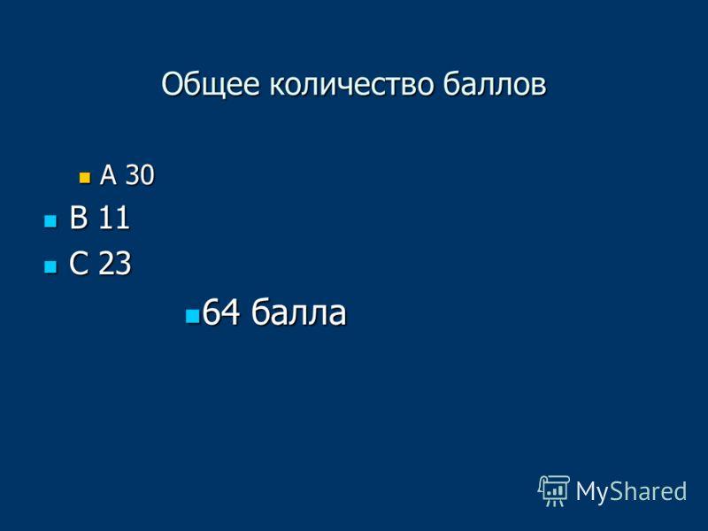 Общее количество баллов А 30 А 30 В 11 В 11 С 23 С 23 64 балла 64 балла