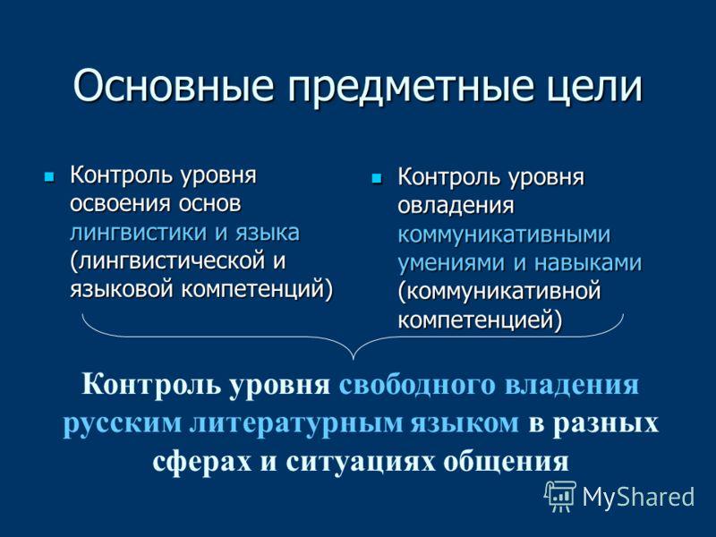 Основные предметные цели Контроль уровня освоения основ лингвистики и языка (лингвистической и языковой компетенций) Контроль уровня освоения основ лингвистики и языка (лингвистической и языковой компетенций) Контроль уровня овладения коммуникативным