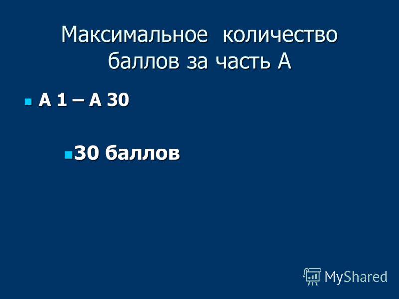 Максимальное количество баллов за часть А А 1 – А 30 А 1 – А 30 30 баллов 30 баллов