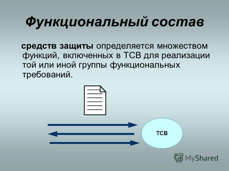 Функциональный состав средств защиты определяется множеством функций, включенных в ТСВ для реализации той или иной группы функциональных требований. ТСВ