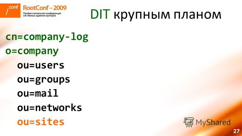 27 DIT крупным планом cn=company-log o=company ou=users ou=groups ou=mail ou=networks ou=sites