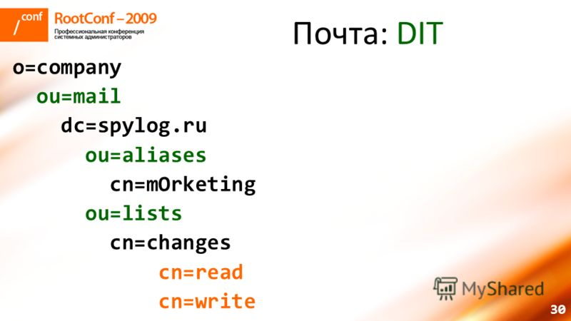 30 Почта: DIT o=company ou=mail dc=spylog.ru ou=aliases cn=mOrketing ou=lists cn=changes cn=read cn=write