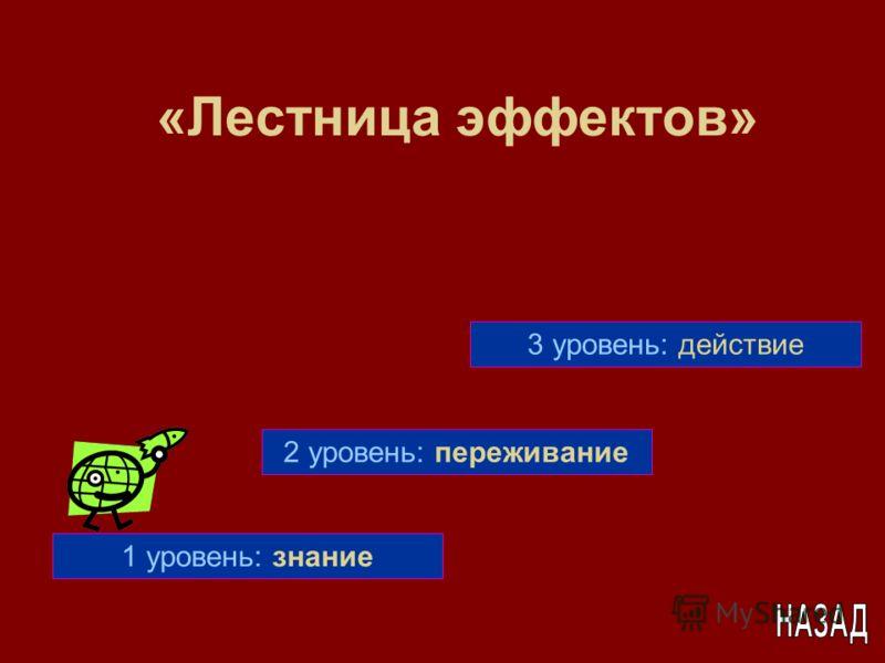 1 уровень: знание 2 уровень: переживание 3 уровень: действие «Лестница эффектов»