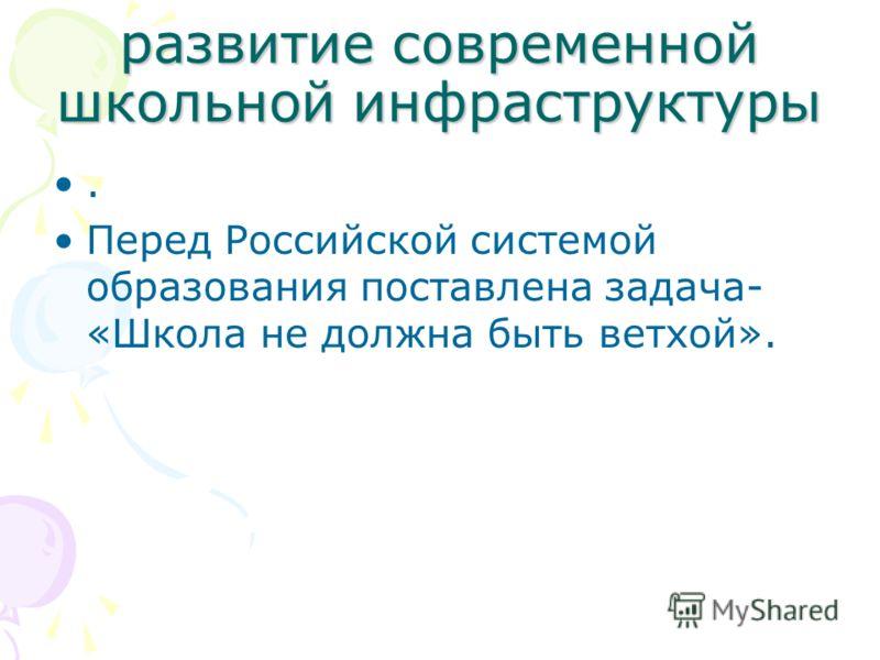 развитие современной школьной инфраструктуры. Перед Российской системой образования поставлена задача- «Школа не должна быть ветхой».