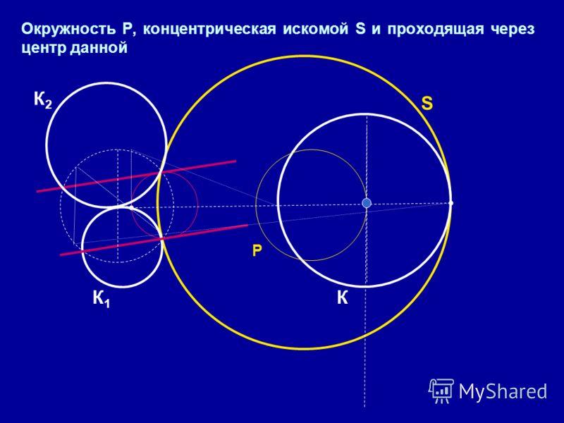Окружность Р, концентрическая искомой S и проходящая через центр данной Р S КК1К1 К2К2