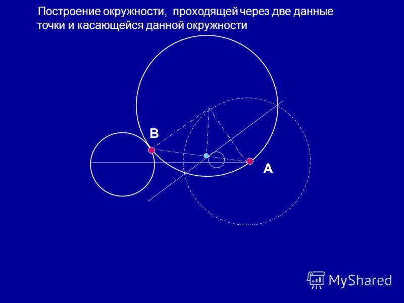 А В Построение окружности, проходящей через две данные точки и касающейся данной окружности