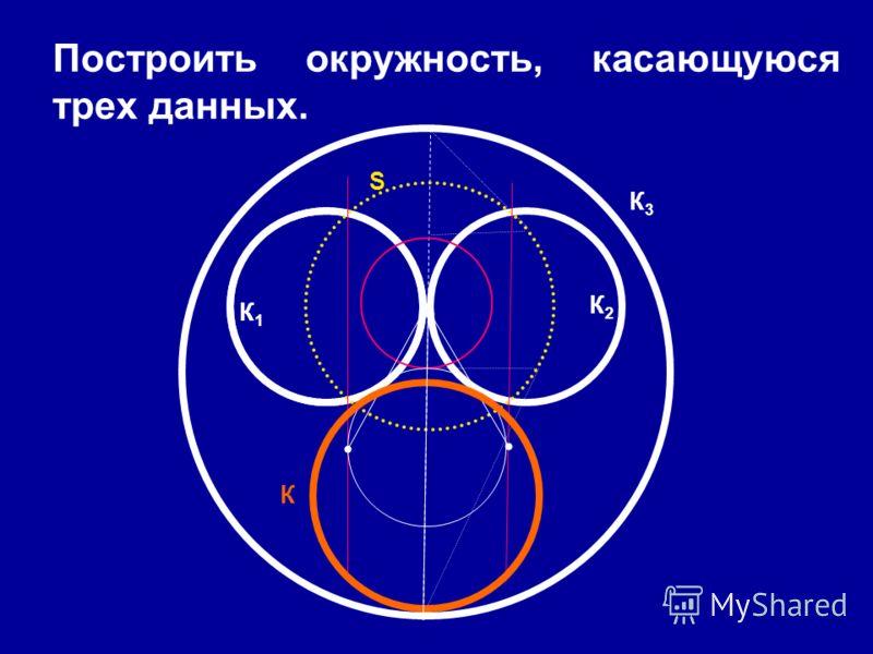 Построить окружность, касающуюся трех данных. К К1К1 К2 К2 К3К3 S