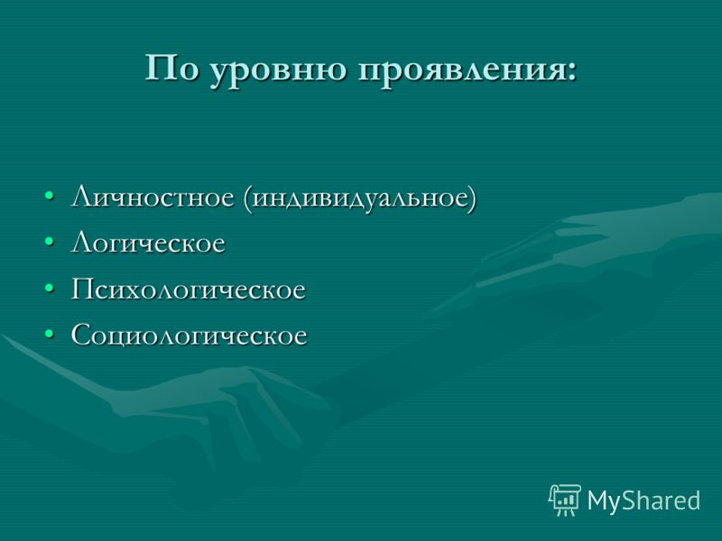 По уровню проявления: Личностное (индивидуальное)Личностное (индивидуальное) ЛогическоеЛогическое ПсихологическоеПсихологическое СоциологическоеСоциологическое