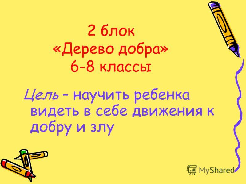 2 блок «Дерево добра» 6-8 классы Цель – научить ребенка видеть в себе движения к добру и злу