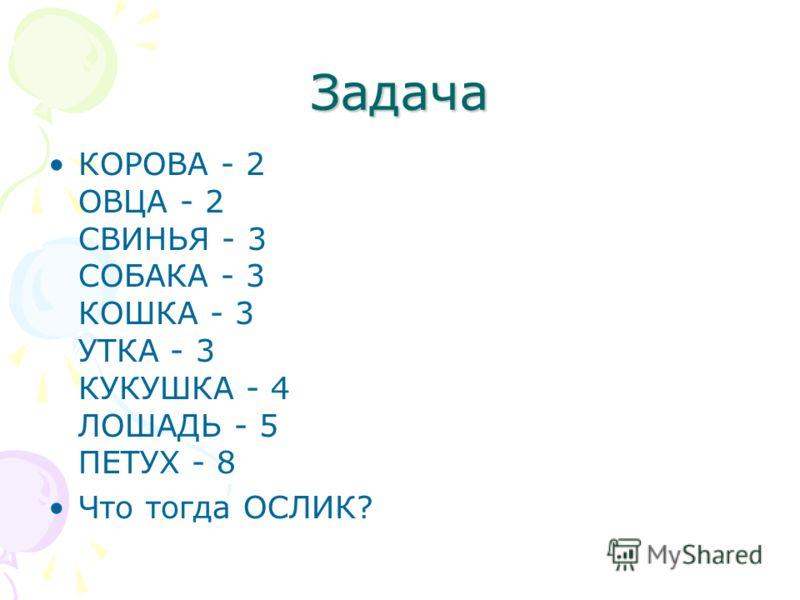 Задача КОРОВА - 2 ОВЦА - 2 СВИНЬЯ - 3 СОБАКА - 3 КОШКА - 3 УТКА - 3 КУКУШКА - 4 ЛОШАДЬ - 5 ПЕТУХ - 8 Что тогда ОСЛИК?