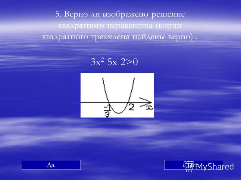 5. Верно ли изображено решение квадратного неравенства (корни квадратного трехчлена найдены верно). 3х 2 -5х-2>0 Да.Нет.
