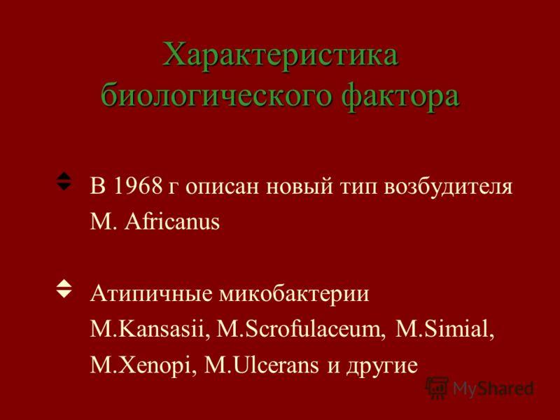Характеристика биологического фактора В 1968 г описан новый тип возбудителя M. Africanus Атипичные микобактерии M.Kansasii, M.Scrofulaceum, M.Simial, M.Xenopi, M.Ulcerans и другие
