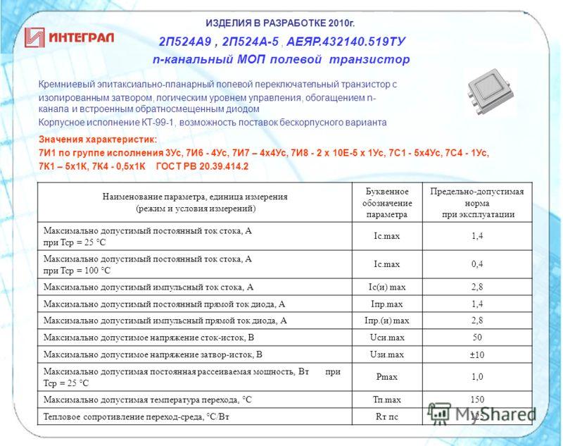 ИЗДЕЛИЯ В РАЗРАБОТКЕ 2010г. 2П524А9, 2П524А-5, АЕЯР.432140.519ТУ n-канальный МОП полевой транзистор Кремниевый эпитаксиально-планарный полевой переключательный транзистор с изолированным затвором, логическим уровнем управления, обогащением n- канала