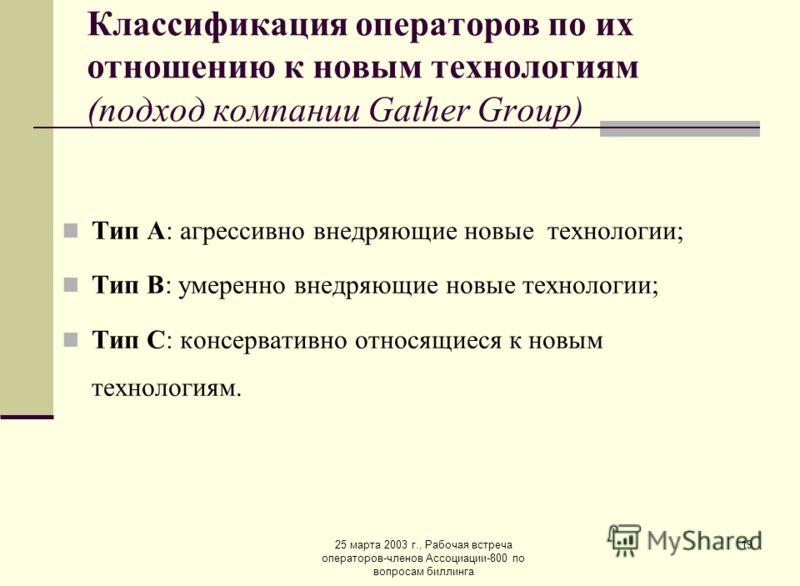 25 марта 2003 г., Рабочая встреча операторов-членов Ассоциации-800 по вопросам биллинга 19 Классификация операторов по их отношению к новым технологиям (подход компании Gather Group) Тип А: агрессивно внедряющие новые технологии; Тип B: умеренно внед