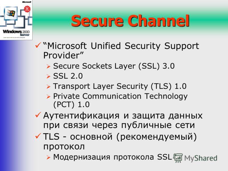 Secure Channel Microsoft Unified Security Support Provider Secure Sockets Layer (SSL) 3.0 SSL 2.0 Transport Layer Security (TLS) 1.0 Private Communication Technology (PCT) 1.0 Аутентификация и защита данных при связи через публичные сети TLS - основн