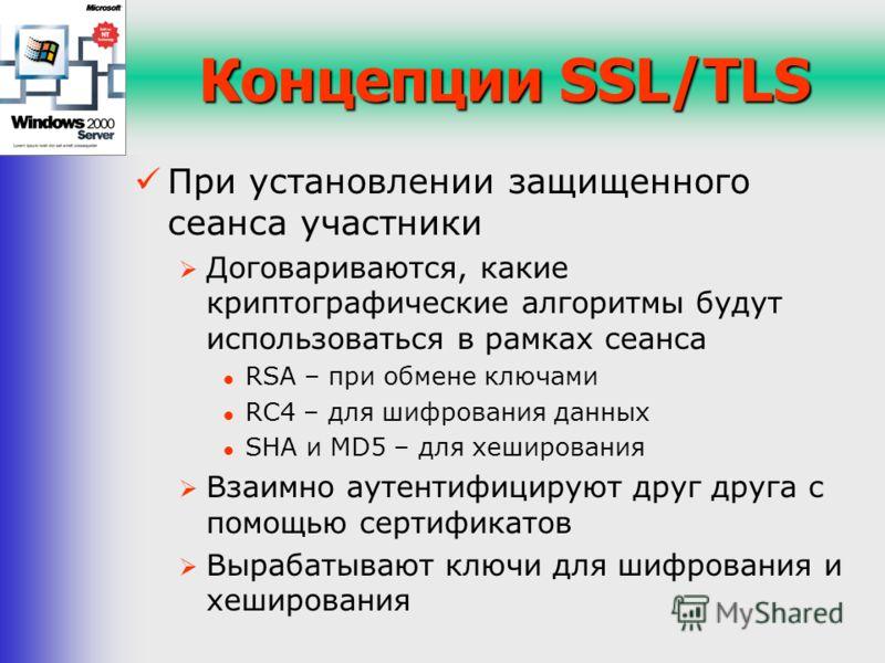 Концепции SSL/TLS При установлении защищенного сеанса участники Договариваются, какие криптографические алгоритмы будут использоваться в рамках сеанса RSA – при обмене ключами RC4 – для шифрования данных SHA и MD5 – для хеширования Взаимно аутентифиц