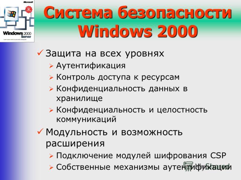 Система безопасности Windows 2000 Защита на всех уровнях Аутентификация Контроль доступа к ресурсам Конфиденциальность данных в хранилище Конфиденциальность и целостность коммуникаций Модульность и возможность расширения Подключение модулей шифровани