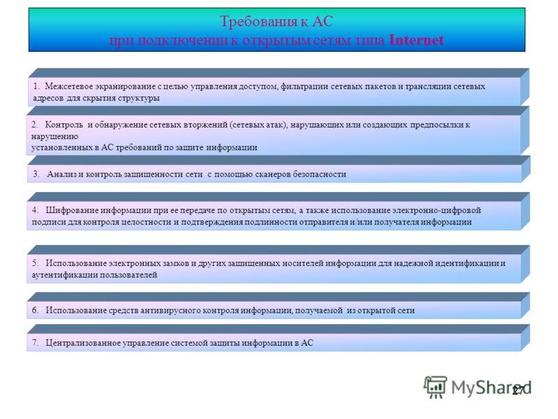 27 Требования к АС при подключении к открытым сетям типа Internet 1. Межсетевое экранирование с целью управления доступом, фильтрации сетевых пакетов и трансляции сетевых адресов для скрытия структуры 2. Контроль и обнаружение сетевых вторжений (сете