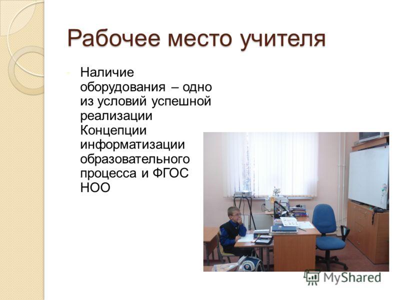 Рабочее место учителя Наличие оборудования – одно из условий успешной реализации Концепции информатизации образовательного процесса и ФГОС НОО