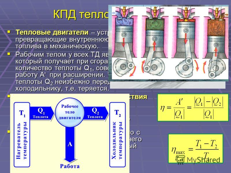 КПД тепловой машины Тепловые двигатели – устройства, превращающие внутреннюю энергию топлива в механическую. Тепловые двигатели – устройства, превращающие внутреннюю энергию топлива в механическую. Рабочим телом у всех ТД является газ, который получа