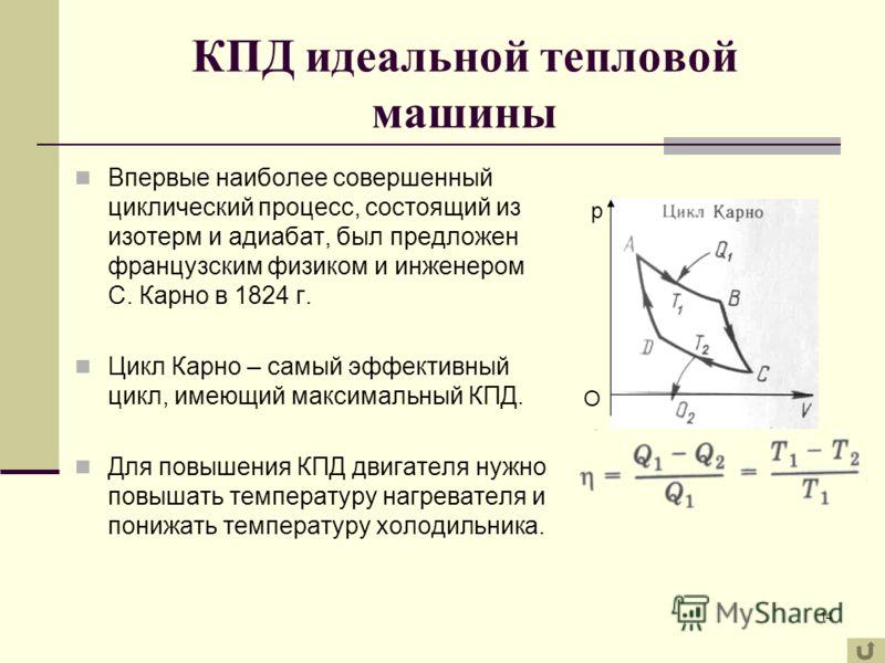 14 КПД идеальной тепловой машины Впервые наиболее совершенный циклический процесс, состоящий из изотерм и адиабат, был предложен французским физиком и инженером С. Карно в 1824 г. Цикл Карно – самый эффективный цикл, имеющий максимальный КПД. Для пов