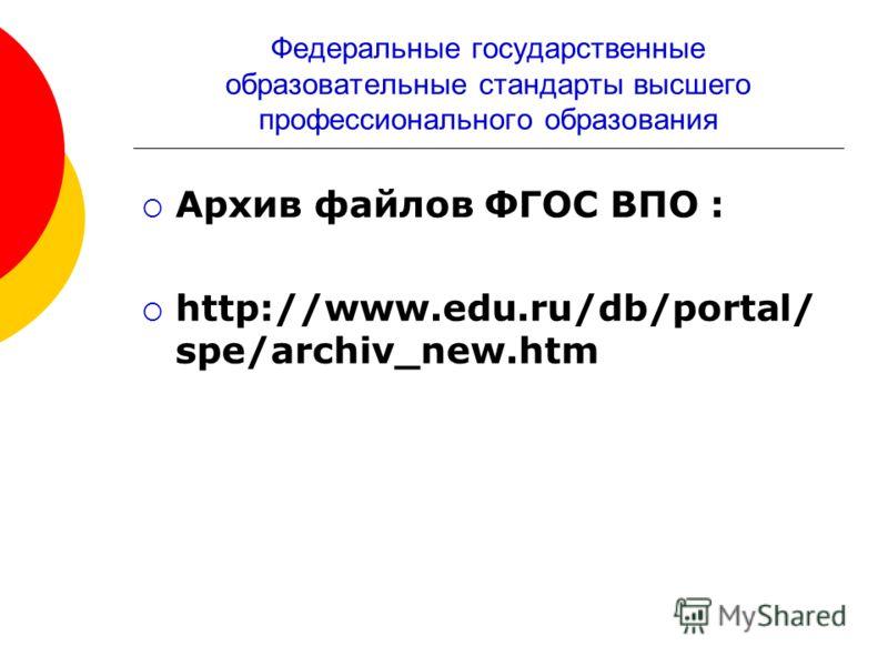 Федеральные государственные образовательные стандарты высшего профессионального образования Архив файлов ФГОС ВПО : http://www.edu.ru/db/portal/ spe/archiv_new.htm