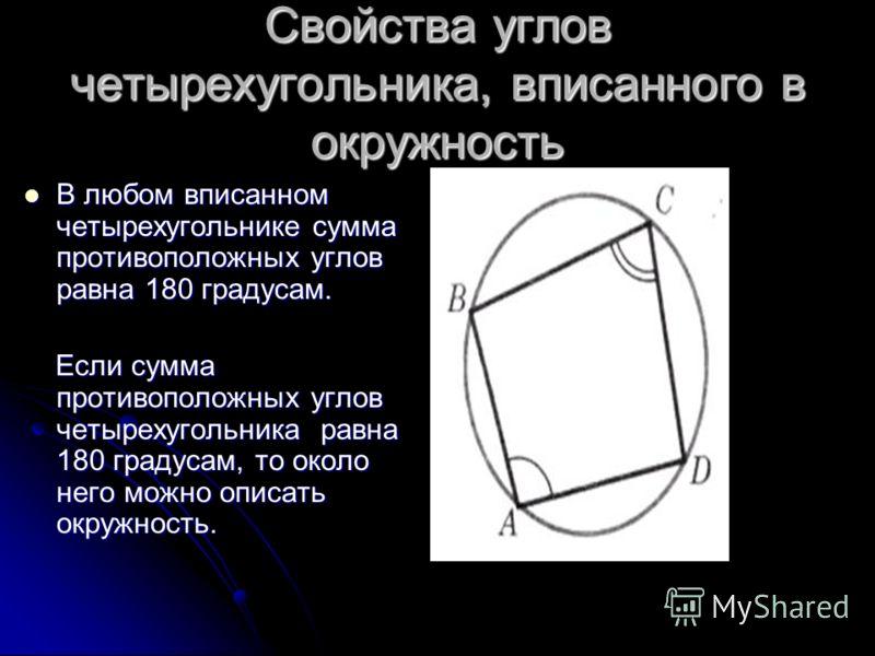 Свойства углов четырехугольника, вписанного в окружность В любом вписанном четырехугольнике сумма противоположных углов равна 180 градусам. В любом вписанном четырехугольнике сумма противоположных углов равна 180 градусам. Если сумма противоположных
