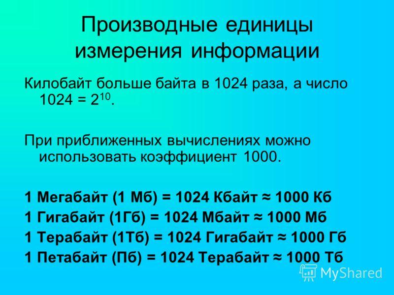 Производные единицы измерения информации Килобайт больше байта в 1024 раза, а число 1024 = 2 10. При приближенных вычислениях можно использовать коэффициент 1000. 1 Мегабайт (1 Мб) = 1024 Кбайт 1000 Кб 1 Гигабайт (1Гб) = 1024 Мбайт 1000 Мб 1 Терабайт