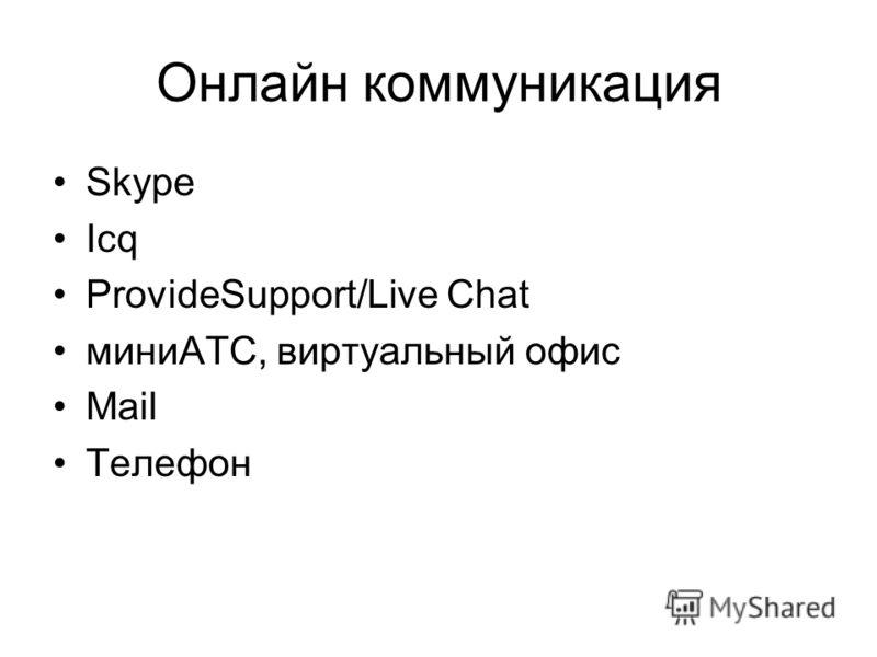 Онлайн коммуникация Skype Icq ProvideSupport/Live Chat миниАТС, виртуальный офис Mail Телефон