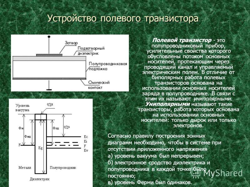 Устройство полевого транзистора Полевой транзистор - это полупроводниковый прибор, усилительные свойства которого обусловлены потоком основных носителей, протекающим через проводящий канал и управляемый электрическим полем. В отличие от биполярных ра