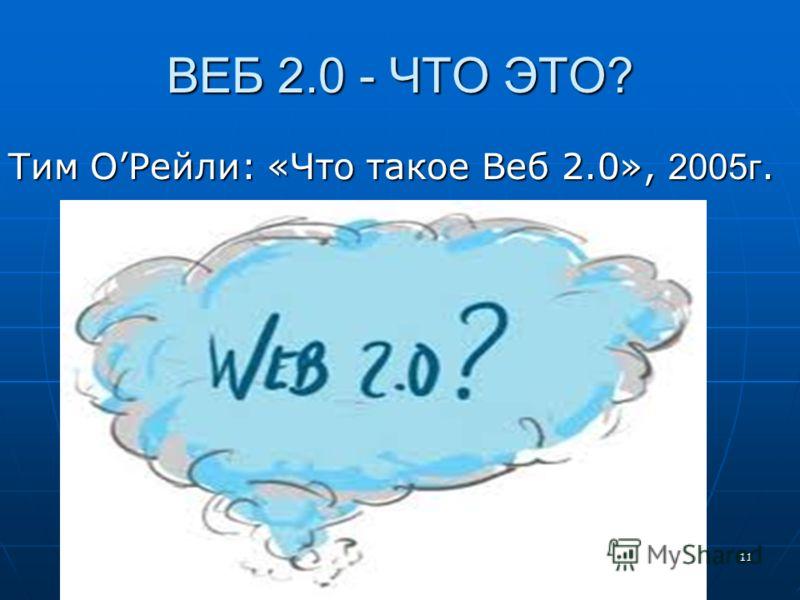 ВЕБ 2.0 - ЧТО ЭТО? Тим ОРейли: «Что такое Веб 2.0», 2005г. 11