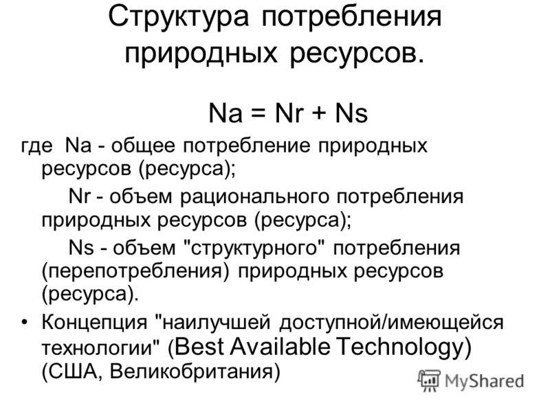 Структура потребления природных ресурсов. Na = Nr + Ns где Na - общее потребление природных ресурсов (ресурса); Nr - объем рационального потребления природных ресурсов (ресурса); Ns - объем