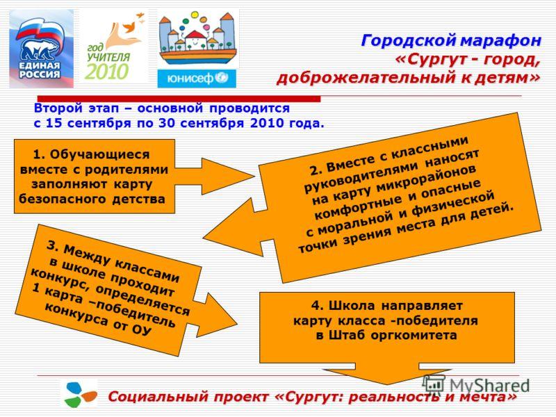 Городской марафон «Сургут - город, доброжелательный к детям» доброжелательный к детям» Социальный проект «Сургут: реальность и мечта» Второй этап – основной проводится с 15 сентября по 30 сентября 2010 года. 1. Обучающиеся вместе с родителями заполня