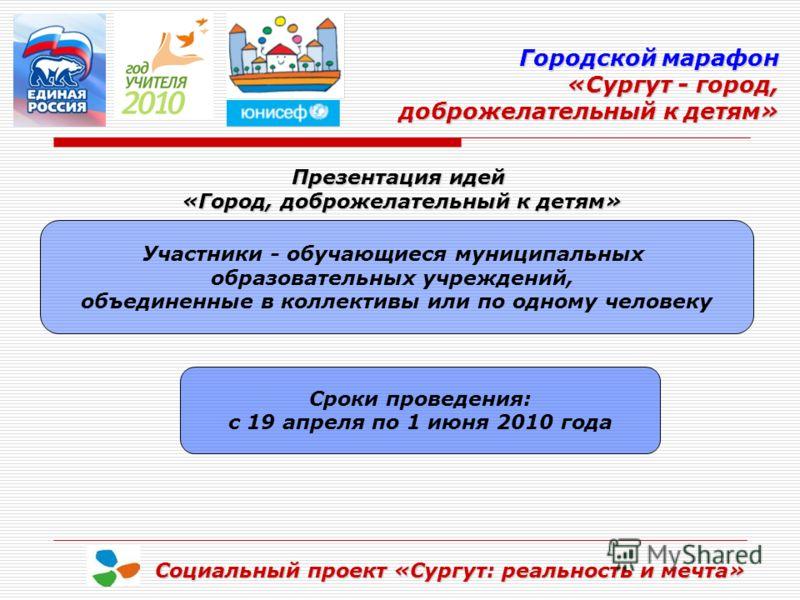 Городской марафон «Сургут - город, доброжелательный к детям» доброжелательный к детям» Социальный проект «Сургут: реальность и мечта» Презентация идей «Город, доброжелательный к детям» Участники - обучающиеся муниципальных образовательных учреждений,