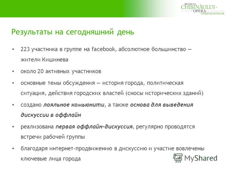 Результаты на сегодняшний день 223 участника в группе на facebook, абсолютное большинство жители Кишинева около 20 активных участников основные темы обсуждения история города, политическая ситуация, действия городских властей (сносы исторических здан