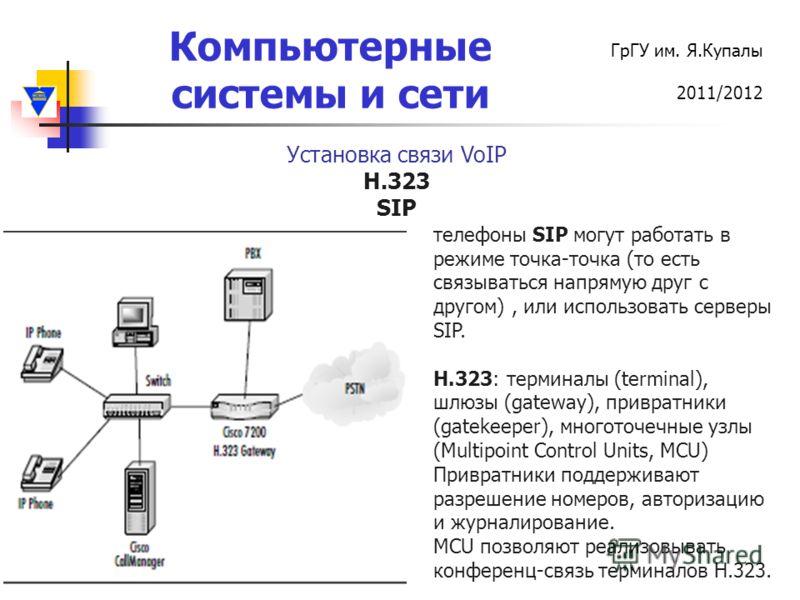 Компьютерные системы и сети ГрГУ им. Я.Купалы 2011/2012 Установка связи VoIP H.323 SIP телефоны SIP могут работать в режиме точка-точка (то есть связываться напрямую друг с другом), или использовать серверы SIP. H.323: терминалы (terminal), шлюзы (ga