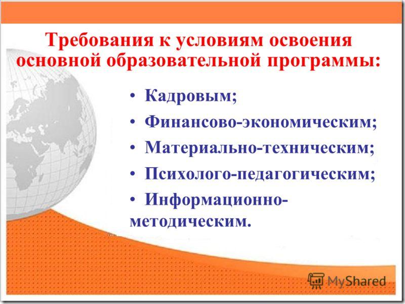 Требования к условиям освоения основной образовательной программы: Кадровым; Финансово-экономическим; Материально-техническим; Психолого-педагогическим; Информационно- методическим.