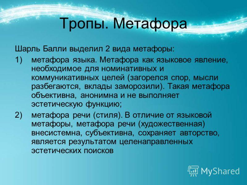 Тропы. Метафора Шарль Балли выделил 2 вида метафоры: 1)метафора языка. Метафора как языковое явление, необходимое для номинативных и коммуникативных целей (загорелся спор, мысли разбегаются, вклады заморозили). Такая метафора объективна, анонимна и н