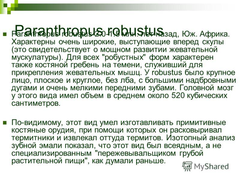Paranthropus robustus Paranthropus robustus 2.0-1.5 млн. лет назад, Юж. Африка. Характерны очень широкие, выступающие вперед скулы (это свидетельствует о мощном развитии жевательной мускулатуры). Для всех