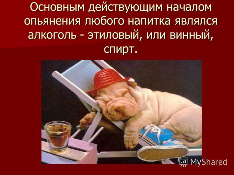 Основным действующим началом опьянения любого напитка являлся алкоголь - этиловый, или винный, спирт.