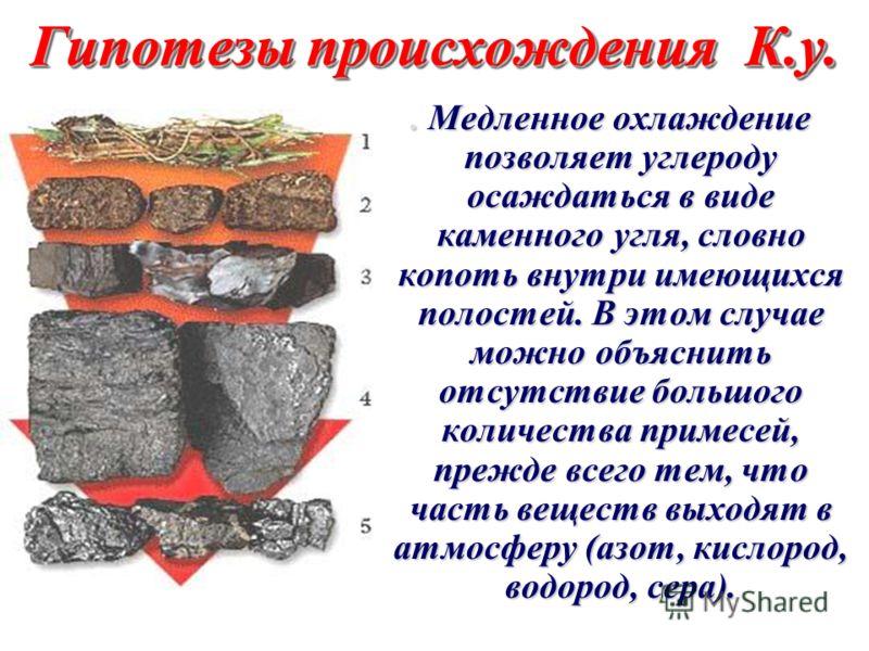 Гипотезы происхождения К.у. Гипотезы происхождения К.у. Залежи каменного угля - результат кристаллизации углерода из газообразного состояния при выходе из недр Земли. Залежи каменного угля - результат кристаллизации углерода из газообразного состояни