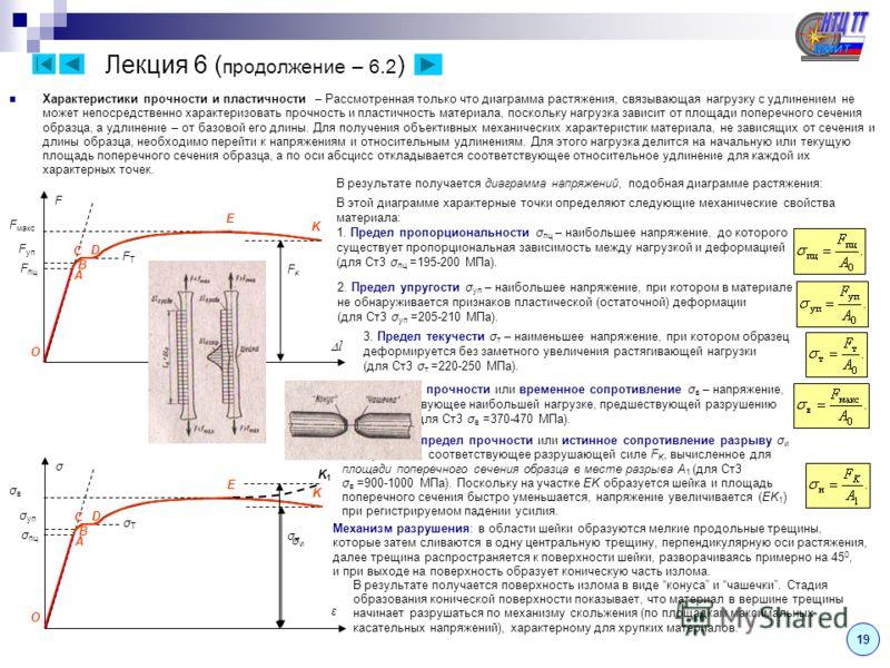 Лекция 6 18 Испытание материалов на растяжение – сжатие – При проектировании конструкций, машин и механизмов необходимо знать прочностные и деформационные свойства материалов. Их определяют экспериментально на специальных испытательных машинах. Из вс