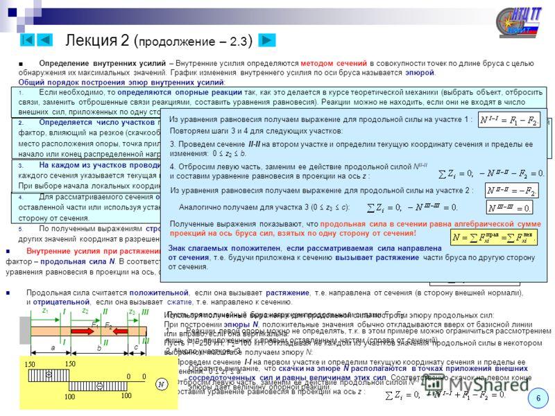 Лекция 2 ( продолжение – 2.2 ) 5 Перемещения – переход точек тела в новое положение вследствие изменения формы и размеров тела под действием нагрузки. Полное перемещение точки в пространстве раскладывается на компоненты u, v и w, параллельные осям x,