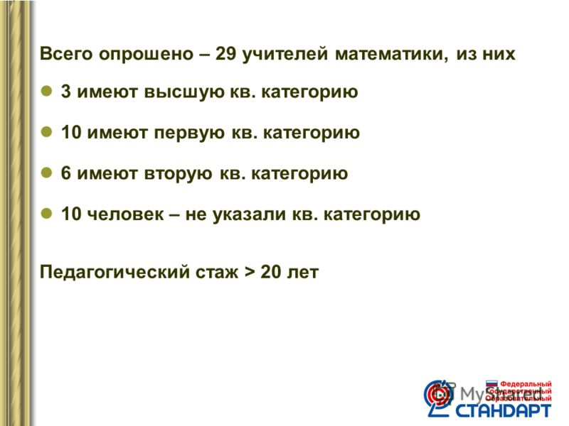 Всего опрошено – 29 учителей математики, из них 3 имеют высшую кв. категорию 10 имеют первую кв. категорию 6 имеют вторую кв. категорию 10 человек – не указали кв. категорию Педагогический стаж > 20 лет