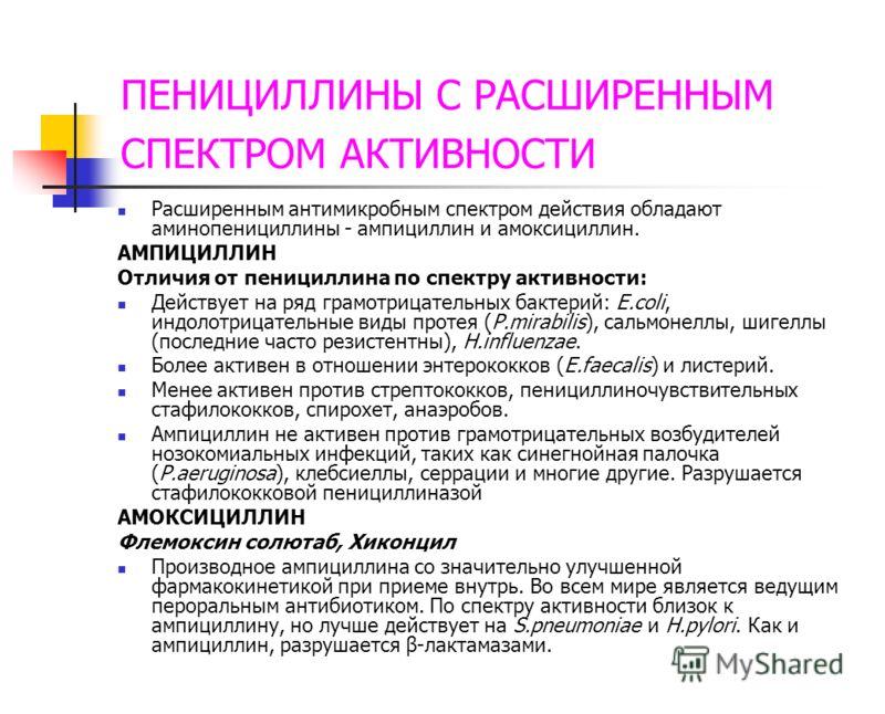 ПЕНИЦИЛЛИНЫ С РАСШИРЕННЫМ СПЕКТРОМ АКТИВНОСТИ Расширенным антимикробным спектром действия обладают аминопенициллины - ампициллин и амоксициллин. АМПИЦ