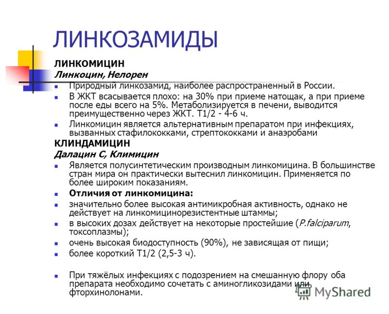 ЛИНКОЗАМИДЫ ЛИНКОМИЦИН Линкоцин, Нелорен Природный линкозамид, наиболее распространенный в России. В ЖКТ всасывается плохо: на 30% при приеме натощак,