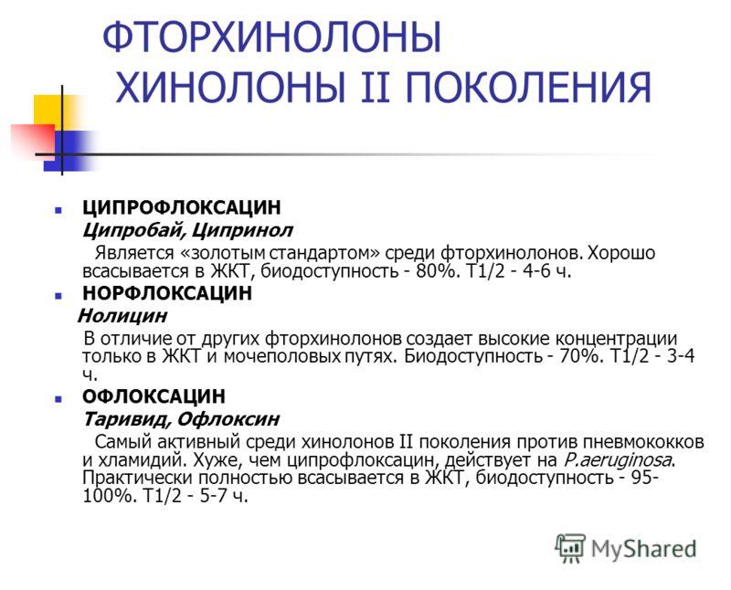 ФТОРХИНОЛОНЫ ХИНОЛОНЫ II ПОКОЛЕНИЯ ЦИПРОФЛОКСАЦИН Ципробай, Ципринол Является «золотым стандартом» среди фторхинолонов. Хорошо всасывается в ЖКТ, биод