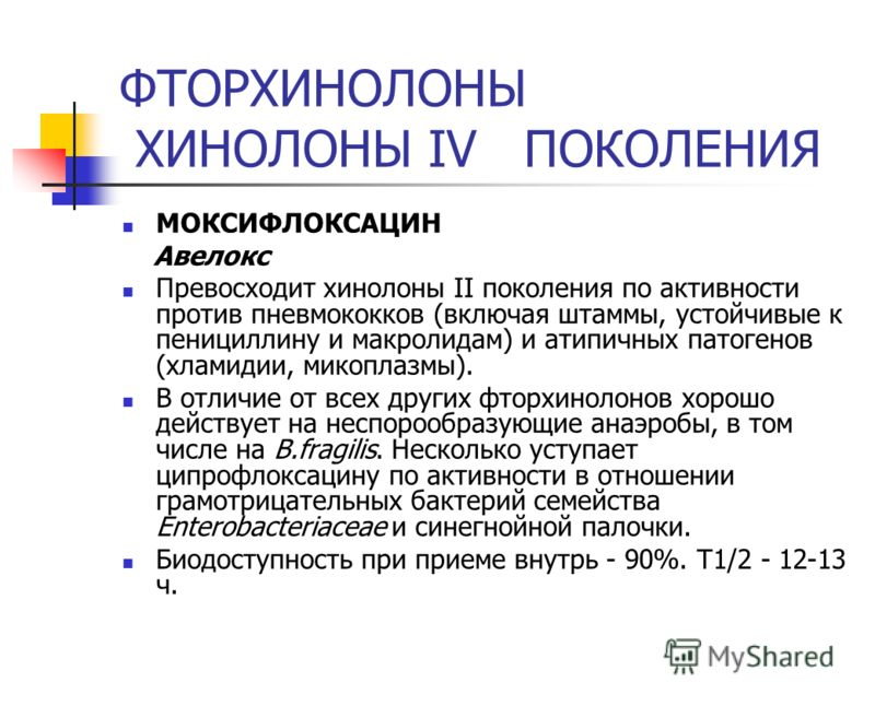 ФТОРХИНОЛОНЫ ХИНОЛОНЫ IV ПОКОЛЕНИЯ МОКСИФЛОКСАЦИН Авелокс Превосходит хинолоны II поколения по активности против пневмококков (включая штаммы, устойчивые к пенициллину и макролидам) и атипичных патогенов (хламидии, микоплазмы). В отличие от всех друг